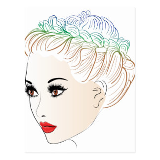 Fashion Hairstyles Lineart 2 Postcard