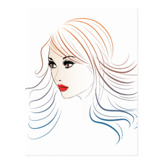Fashion Hairstyles Lineart 4 Postcard