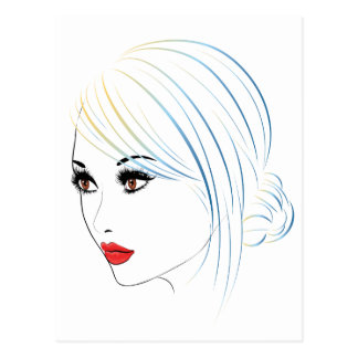 Fashion Hairstyles Lineart 5 Postcard