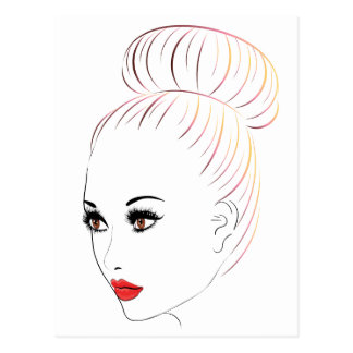 Fashion Hairstyles Lineart 6 Postcard