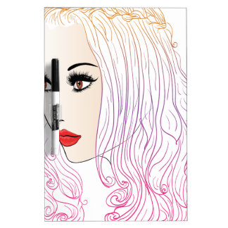 Fashion Hairstyles Lineart Dry Erase Whiteboards