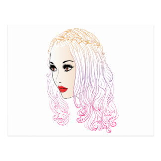 Fashion Hairstyles Lineart Postcard