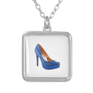 Fashion High Heel Shoe Blue add Text Square Pendant Necklace