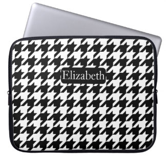 Fashion Houndstooth Black and White Name Laptop Sleeve