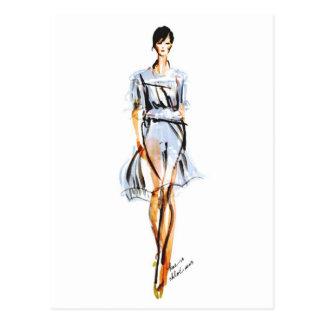 Fashion Illustration | Chloe Pastel Chiffon Dress Postcard