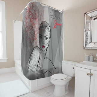 Fashion Illustration Pretty Face Abstract Art Shower Curtain