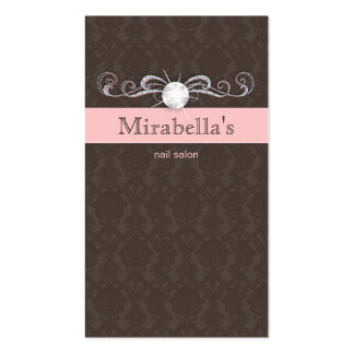 Fashion Jewelry Damask Swirl Pink Brown Business Cards