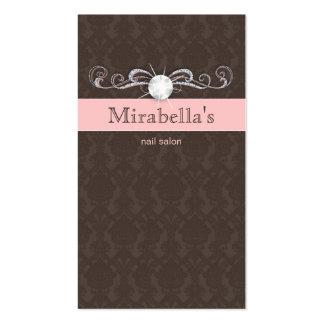 Fashion Jewelry Damask Swirl Pink Brown Business Cards