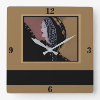 Fashion Lady Wall Clock Home Decor-Camel/Black