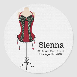 Fashion Lingerie (red) Classic Round Sticker