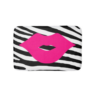 Fashion lips kiss pink girly zebra glamour bath mat