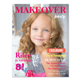Fashion Magazine Makeover Girls Birthday Party Card