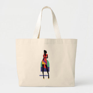 Fashion modern stylish trendy illustration pattern large tote bag