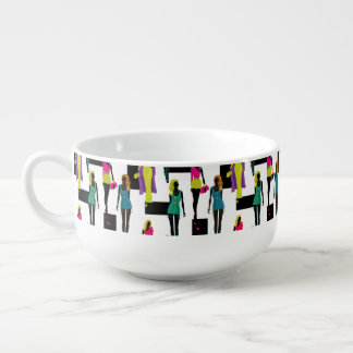 Fashion modern stylish trendy illustration pattern soup mug