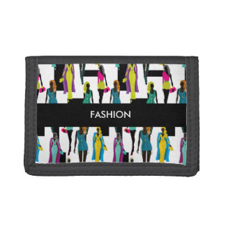 Fashion modern stylish trendy illustration pattern trifold wallets