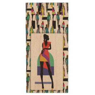 Fashion modern stylish trendy illustration pattern wood USB flash drive