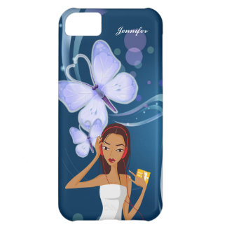 Fashion Music Girl & Blue Butterfly Background | iPhone 5C Cases