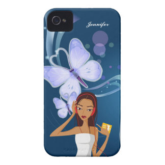 Fashion Music Girl & Blue Butterfly Background | iPhone 4 Covers