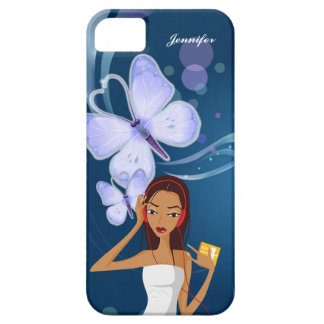 Fashion Music Girl & Blue Butterfly Background | iPhone 5 Cover