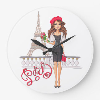 Fashion Paris Girl Hand Painted Large Clock