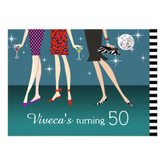 Fashion Party Girls 50th Birthday Personalized Announcements