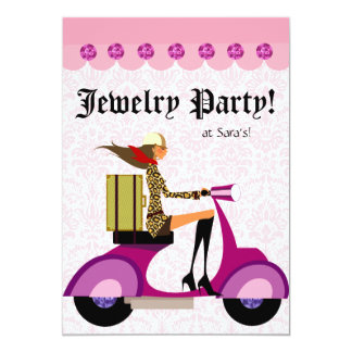 Fashion Party Invitation Scooter Woman Pink Leopar