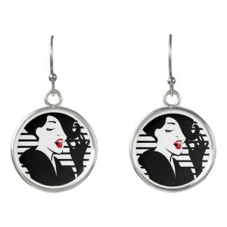 Fashion pin up stylish striped illustration earrings