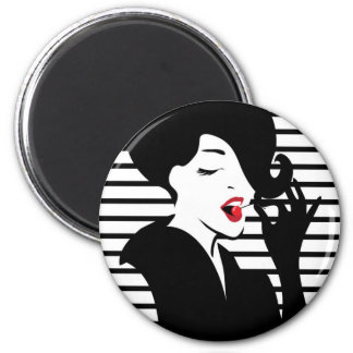 Fashion pin up stylish striped illustration magnet