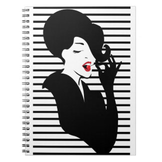 Fashion pin up stylish striped illustration note book