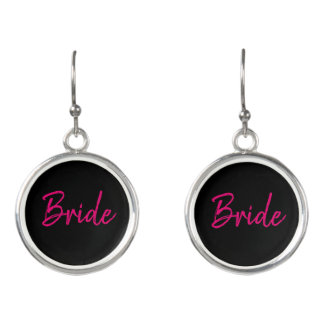 Fashion Pink and Black Bride Earrings