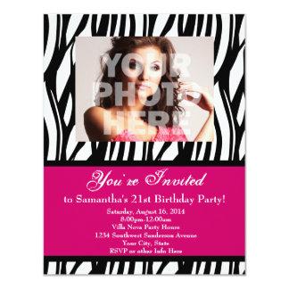 Fashion Pink Zebra Custom Party Invitations