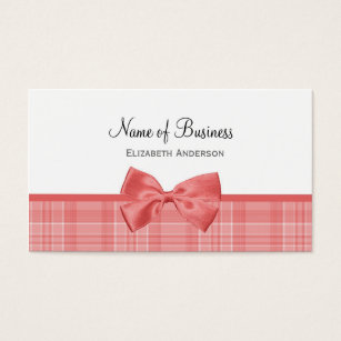 Bow business cards business card printing zazzle fashion plaid pattern with cayenne pink bow business card colourmoves