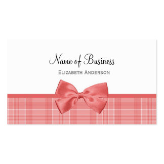 Fashion Plaid Pattern With Cayenne Pink Bow Pack Of Standard Business Cards