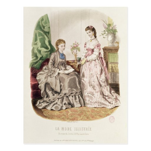Fashion plate showing ballgowns post card