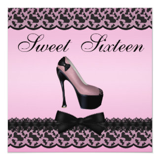 Fashion Shoes Black Printed Lace Pink Sweet 16 5.25x5.25 Square Paper Invitation Card