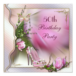 Fashion Shoes Magnolia Butterfly 50th Birthday 13 Cm X 13 Cm Square Invitation Card