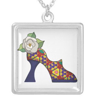 Fashion Show with rose Square Pendant Necklace