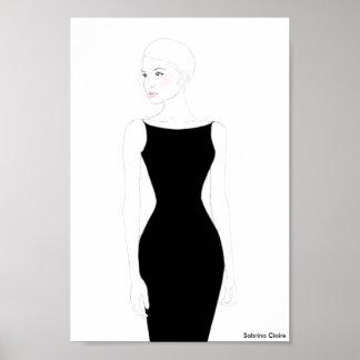 Fashion Sketch - Little Black Dress Poster