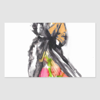 fashion sketch rectangular sticker