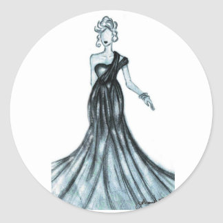 Fashion sketch round sticker