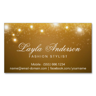 Fashion Stylist - Shimmering Gold Glitter Sparkles Magnetic Business Cards