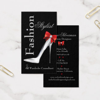 Fashion Stylist Silver Stiletto with Red Bow Business Card