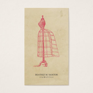 Fashion Vintage Dress Form Cool Pink Plain Simple Business Card