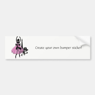 Fashion vintage stylish illustration. Ballerina Bumper Sticker