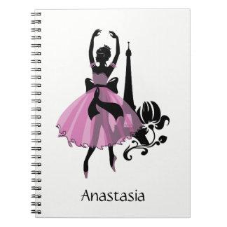 Fashion vintage stylish illustration. Ballerina Notebooks