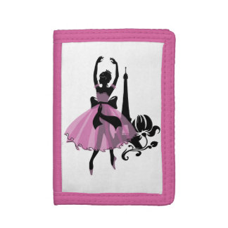 Fashion vintage stylish illustration. Ballerina Tri-fold Wallet