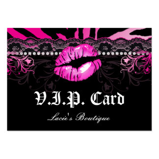 Fashion VIP Card Lace Lips Zebra Pink Pack Of Chubby Business Cards