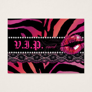 Fashion VIP Card Lace Lips Zebra Pink Red