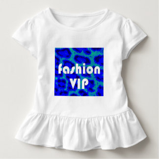 Fashion VIP on Blue Leopard Background Ruffle Tee