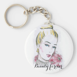Fashion wedding watercolor illustration basic round button key ring